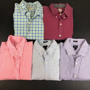Lot of 5 Mens J. Crew Button Front Shirts L